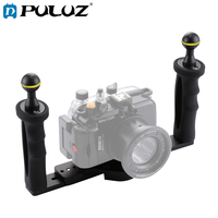 PULUZ Diving Dual Handle Stabilizer Aluminium Tray Support For Underwater Camera Housings 23*18*6.5cm Double Camera Tray