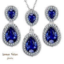 Lemon Value Romantic Luxury Blue Water Drop Pendant Necklace Earrings Charms Female Crystal Jewelry Sets Women Wedding Gift A168(China)