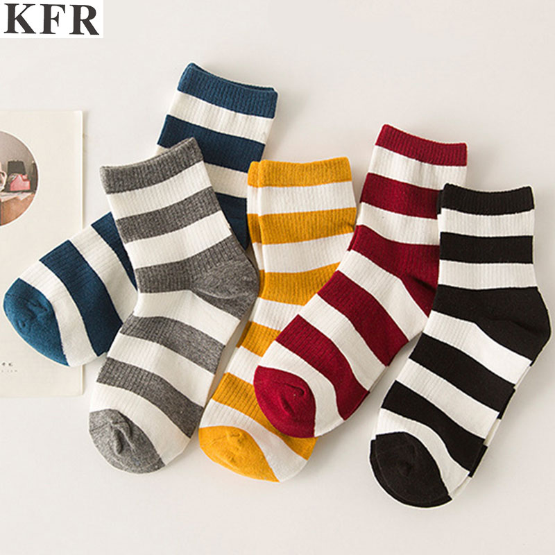 New Women Striped Pattern Cotton Crew   Socks   Harajuku Brand Fashion High Quality Novelty Funny Casual Novelty Rainbow Happy   Socks