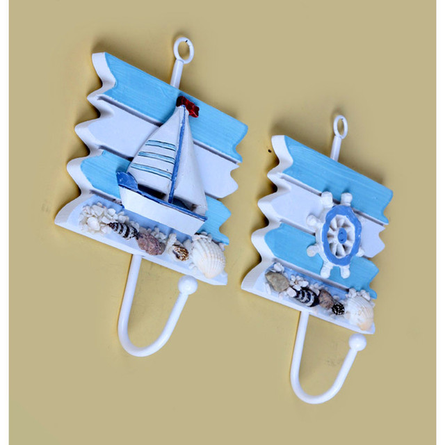 Hooks Real Photo Creative home decor hooks Mediterranean style blue ...