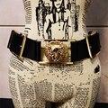 Europa personalidade cabeça de leão metal moda fivela cintos largos para as mulheres boate pista calça jeans maré cinto largo acessórios vestido