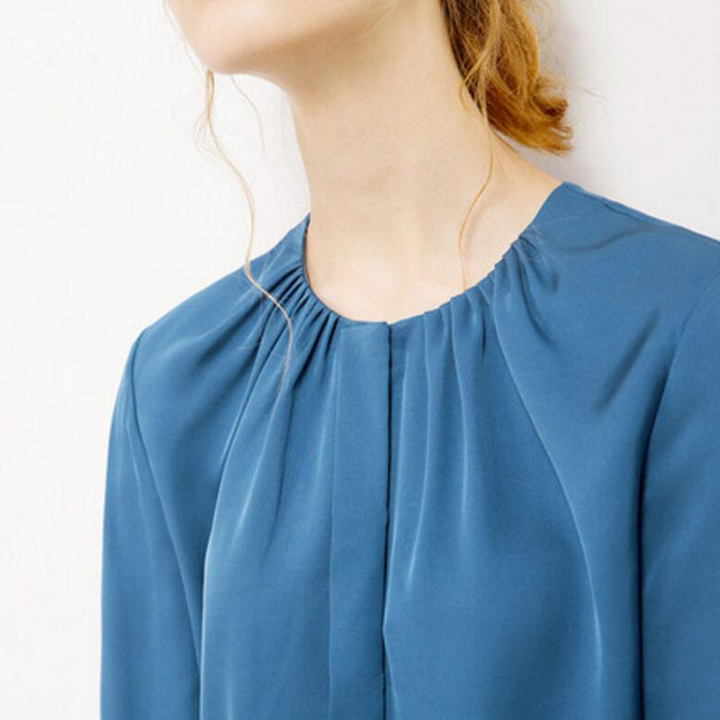 Blanco Azul O Beige Envío Chica Que Venta La Libre cuello Sólido Casual Calidad De Blusa Manga Caliente Del Arropa Larga azul Beige Alta Seda CX8vfwq