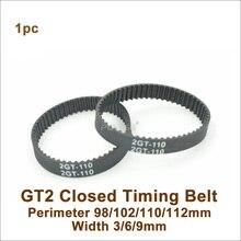 POWGE 98 100 102 110 112 GT2 зубчатый ремень W = 3/6/9/15 мм зубы = 49/50/51/55/56 2GT замкнутому циклу синхронного ремня 110-GT2 98-2GT