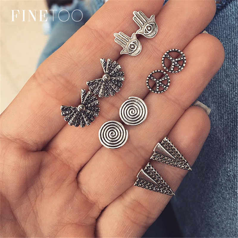 Mixed Vintage Stud Earrings Set Bohemian Hand Sector Triangle Spiral Arrow Small Earrings for Women Brincos Pendientes