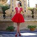 Vestidos Para Baile de Formatura Curto da Luva do Tampão do laço Elegante Vestidos de Cocktail de Tule Vestidos de Formatura Vermelho Curto do Regresso A Casa Vestidos de 2017 Sexy
