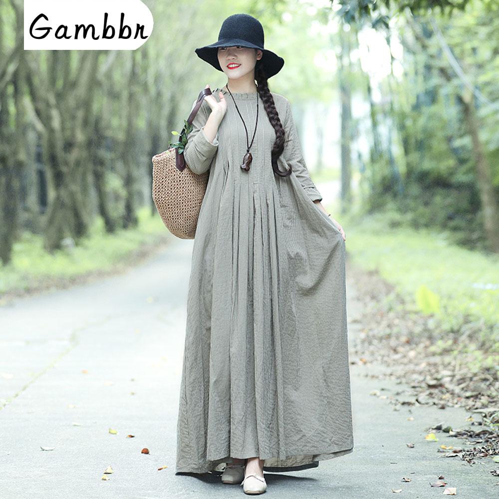 Vintage Cotton Linen Mori Girl Long Dress 2019 Summer Long Sleeve Loose Slim Stripe Casual Fashion Button Maxi Tunic Dress Women
