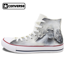 Gray High Top Converse All Star Skull Zombie Original Design Hand Painted Shoes Men Women Sneakers Skateboarding Shoes Unisex