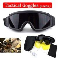Usmc tiro óculos de paintball airsoft ao ar livre dos homens óculos de sol tático 3 lente do exército combate|Óculos de trilha|Esporte e Lazer -
