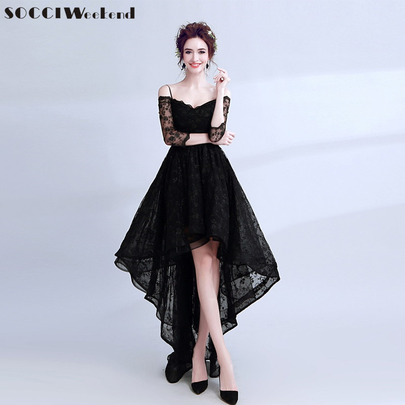 SOCCI Weekend Little Black   Evening     Dress   2018 Black Lace Off Shoulder High/Low Formal Prom Party Gowns Photography   Dresses   Robe