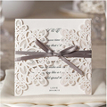 50pcs/lot wedding Invitations card Party Supplies Hollow out Lace Flowers Flora with bow