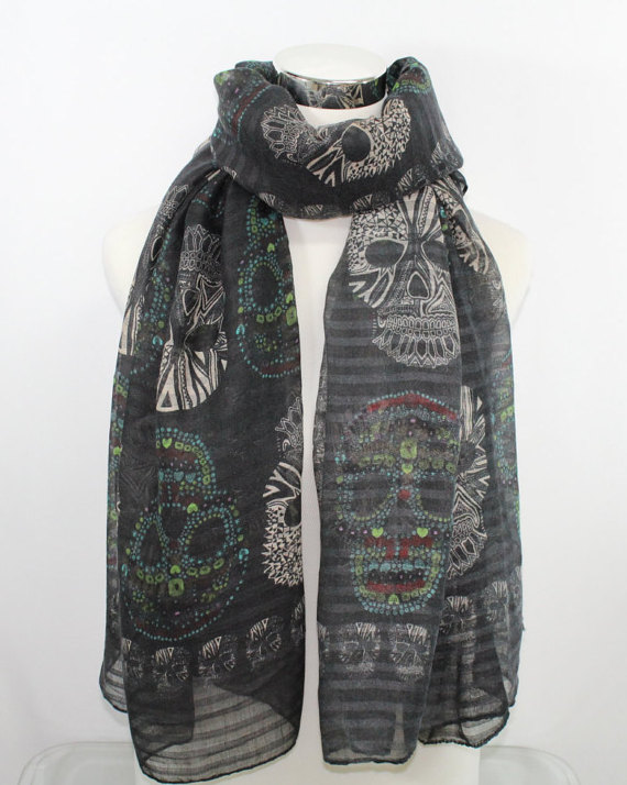 Skull Print Scarf in Black Regular finish, Multi-Color Skull Signature Gothic Flair Rocker Scarf