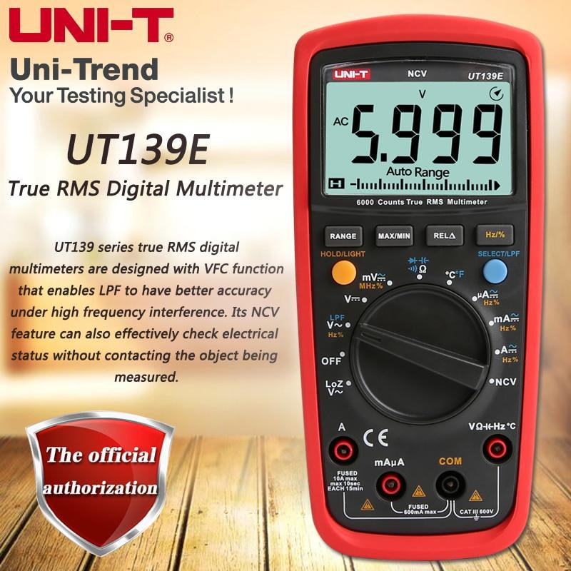 UNI-T UT139E True RMS digital multimeter, LPF (low pass filter) / LoZ (low impedance input) function / Temperature test 1 pcs mastech ms8269 digital auto ranging multimeter dmm test capacitance frequency worldwide store