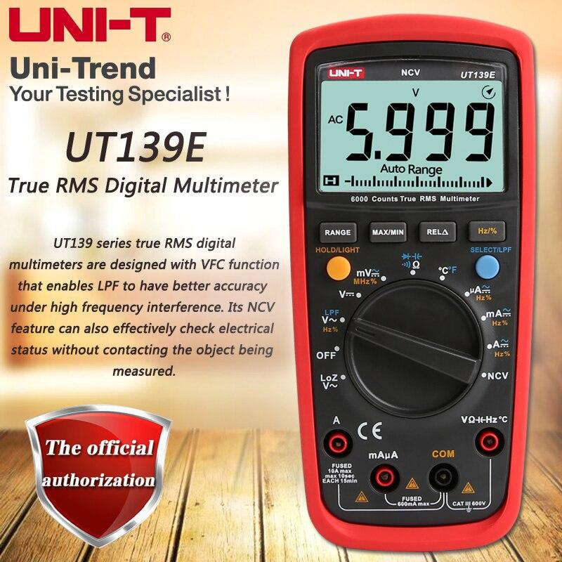 UNI-T UT139E Vrai RMS multimètre numérique, LPF (passe-bas filtre)/LoZ (faible impédance d'entrée) fonction/test de Température