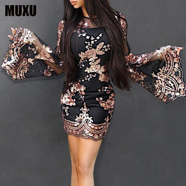 3f431218b3 US $26.64 35% OFF|MUXU fashion sequin dress glitter dress ropa mujer women  clothing sukienka vestidos de festa clothes women jurken long sleeve -in ...