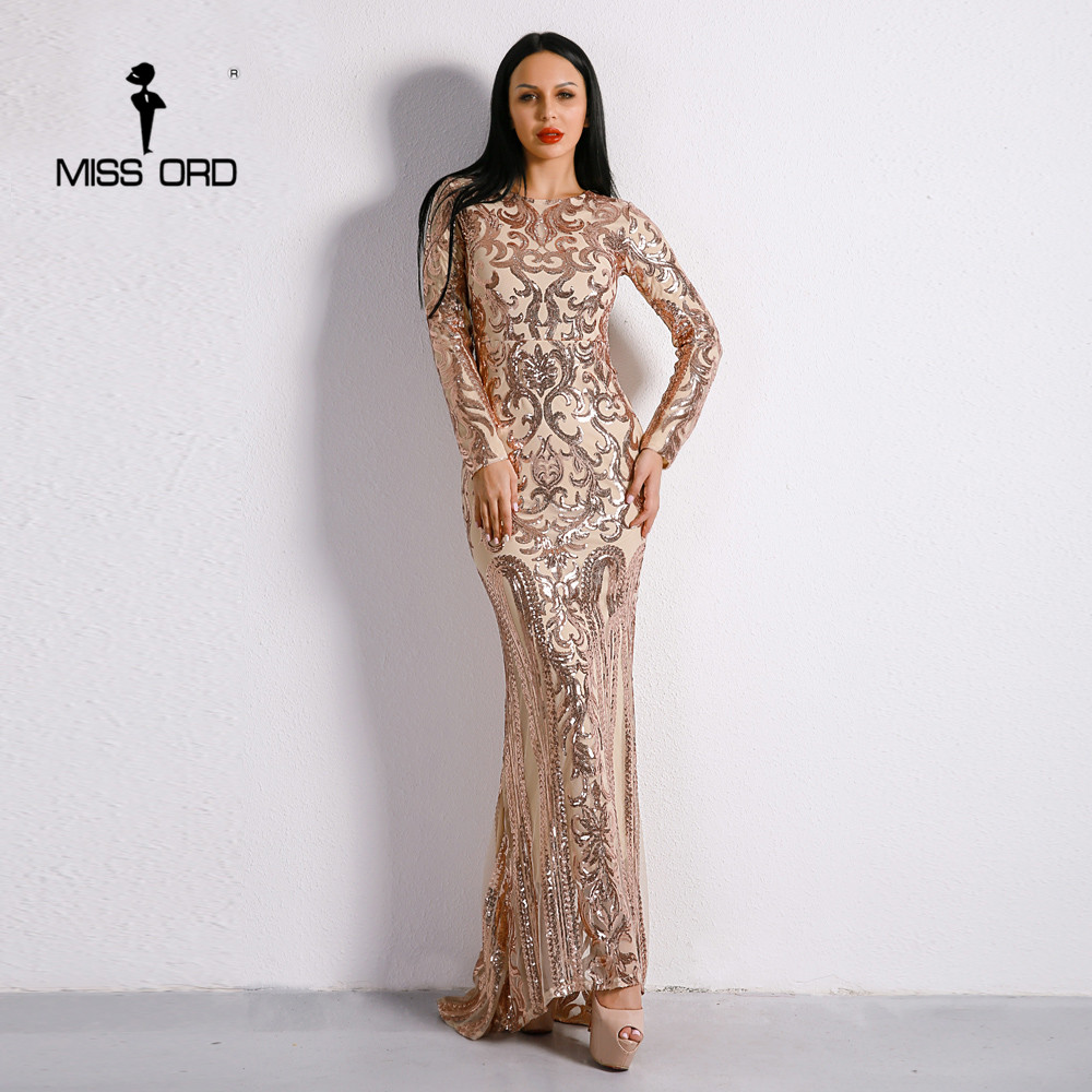 Missord 2019 Sexy O Neck Long Sleeve Retro  Sequin  Maxi  Gorgeous Dress  FT8578