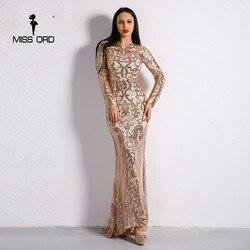 Missord 2018 Sexy O Neck Long Sleeve Retro Sequin Maxi Gorgeous Dress FT8578