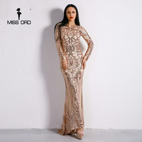 Missord 2019 Sexy O Neck Long Sleeve Retro Sequin Maxi Gorgeous Reflective Dress FT8578