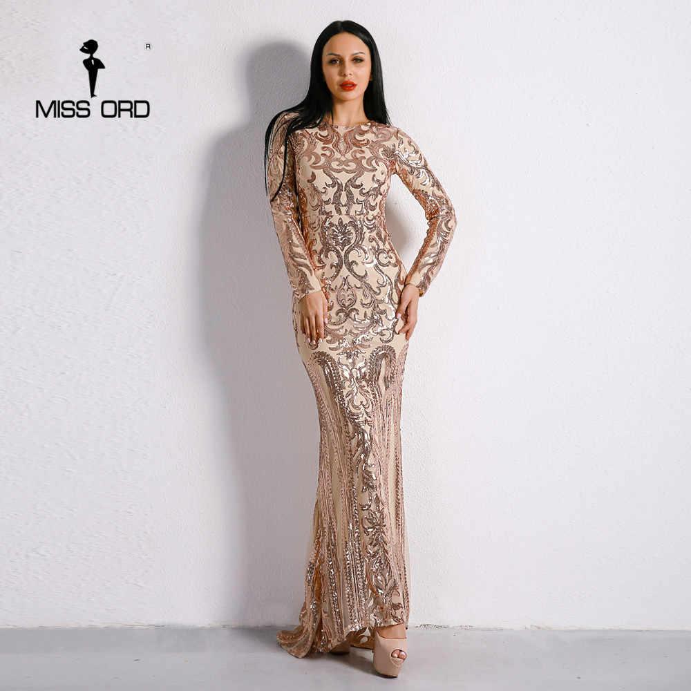 35fcef6dccb Missord 2019 Сексуальная О образным вырезом с длинным рукавом Ретро блесток  макси великолепное платье FT8578