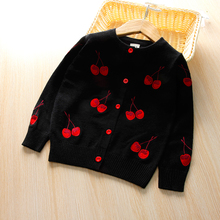 hot deal buy mmhsy cherry knitted baby girls sweaters kids autumn sweater children cardigan girls  embroidery outerwear winter clothes 3-7t