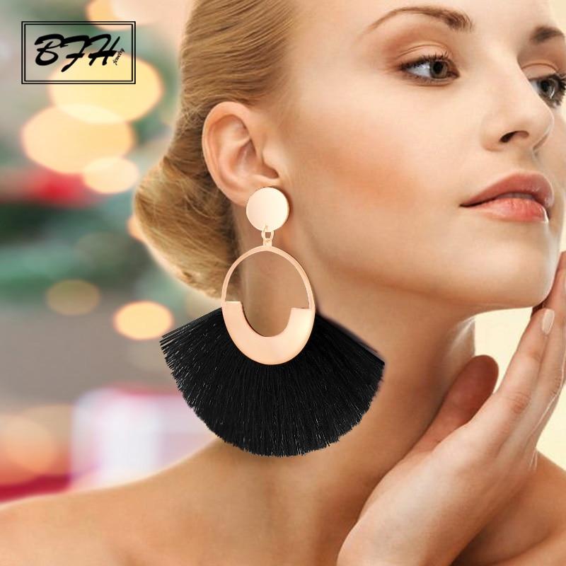 BFH Bohemian Big Tassel Drop Earrings For Women Lady Female Fringe Handmade Dangle Statement Fashion Woman Earring 2019 Jewelry