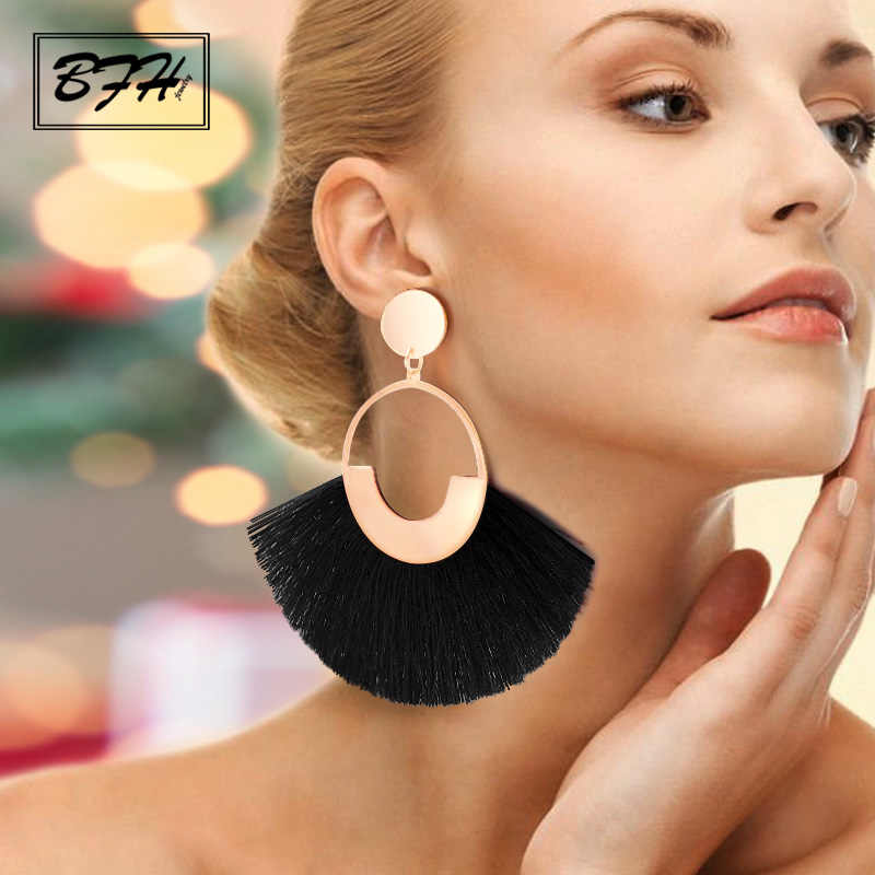 BFH Bohemian Big Tassel Drop Earrings For Women Lady Female Fringe Handmade Dangle Statement Fashion Woman Earring 2019 Jewelry