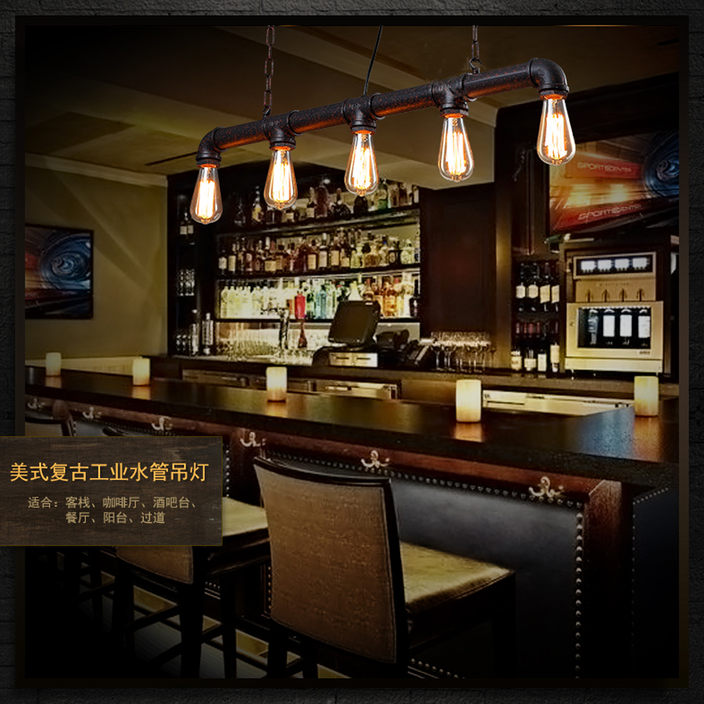 3 5 Heads Edison Vintage Bar Lighting Counter Lamp Dinning Room Pendant Light Retro Water Pipe In Lights From On