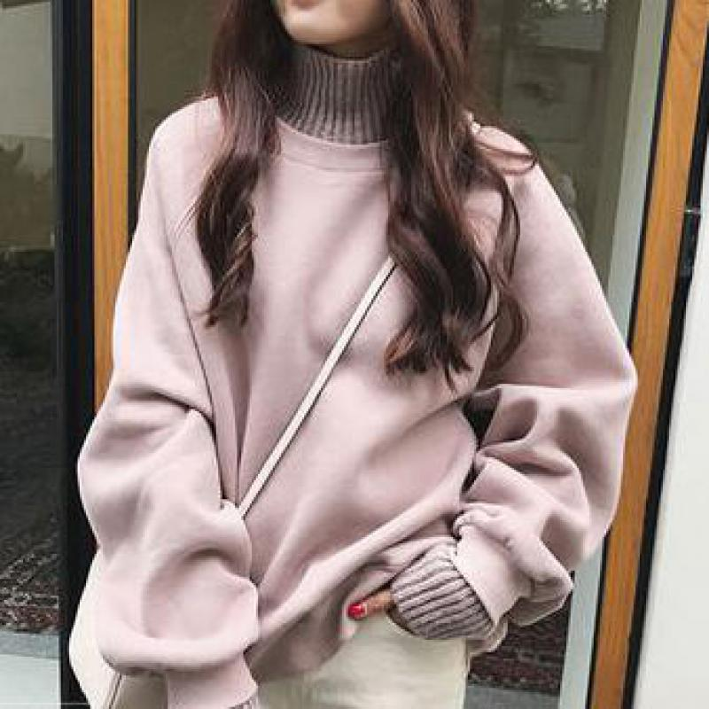 Autumn And Winter Fashion High Collar Plus Velvet Warm Sweater Korean Version Of The Loose Long-sleeved Tops Women's Sweater