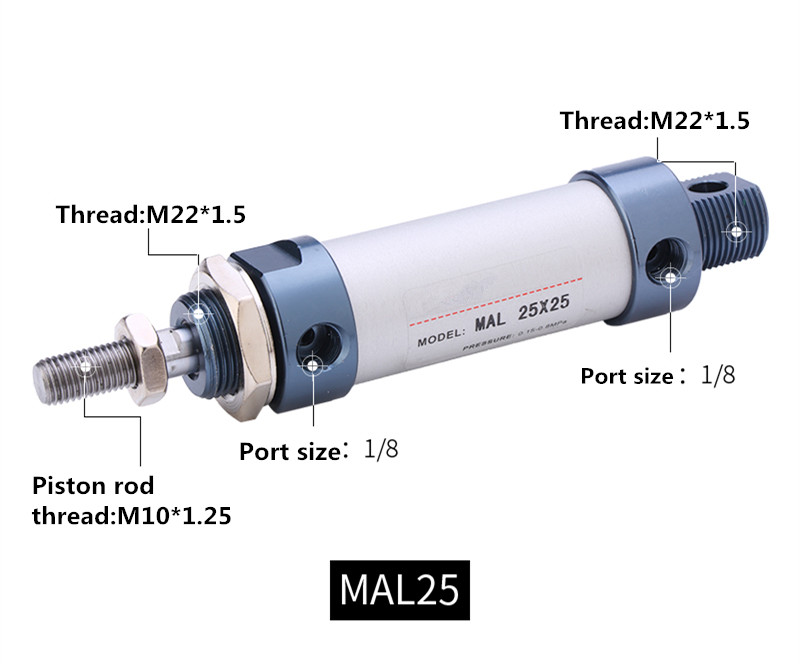Air Cylinder MAL25x100 25mm Bore 100mm Stroke Single Rod Double Acting