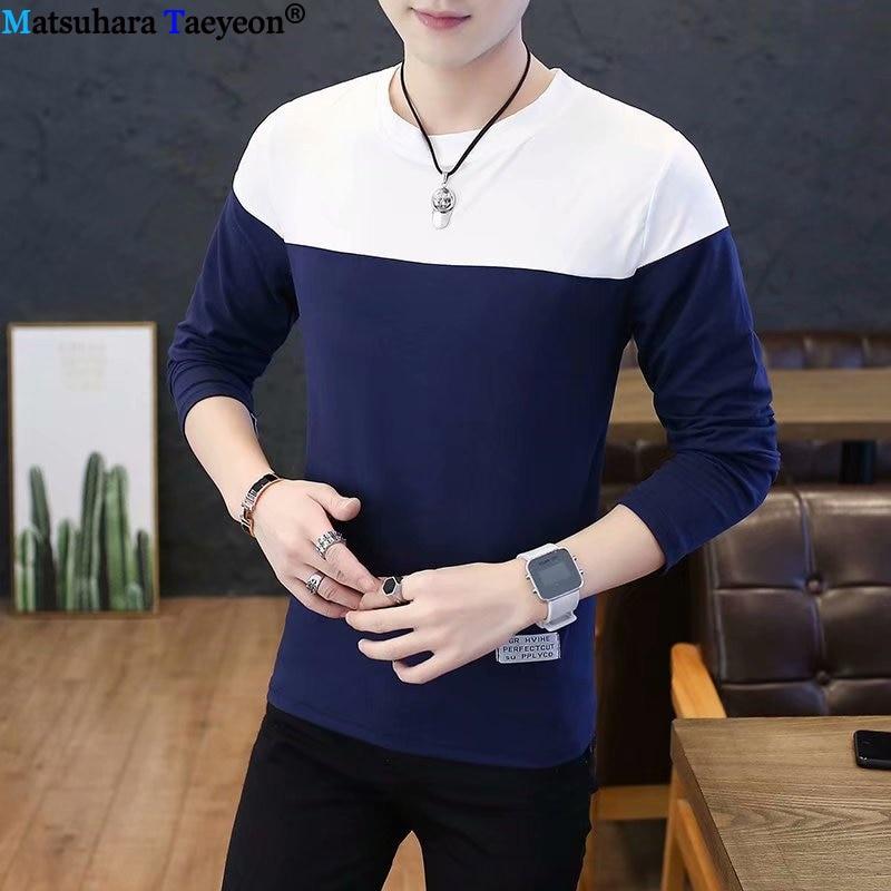 Long Sleeve T-shirt 2019 Autumn Casual T Shirt Men Fashion Striped O Neck Men's T Shirt Slim Fit Mens Clothes Hip Hop Top Tees
