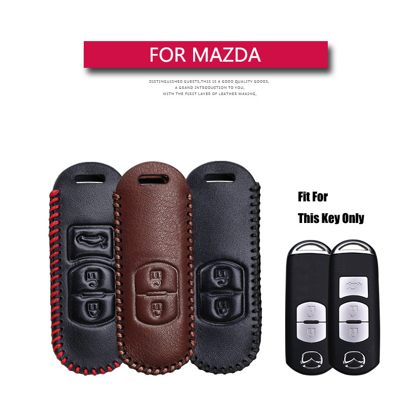 Genuine Leather Remote Keyless Car Key Case Cover For Mazda 2 3 5 6 8 CX5 CX7 CX9 M2 M3 M5 M6 GT Key Holder Shell Bag For Mazda image