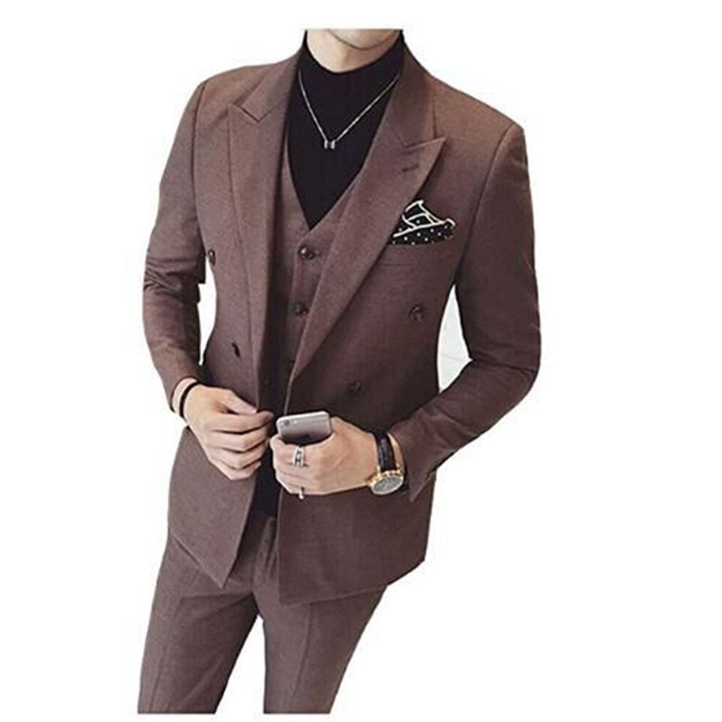 (Jacket+Vest+Pants) Slim Fit Modern Mens Suits Set Latest Coat Pants Designs Solid 3 pieces brown Tuxedo Prom men Suit 2019