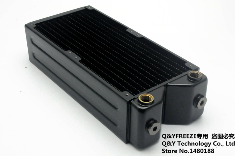 Prix pour 65mm épaisseur 240mm noir ordinateur de cuivre d'eau liquide échangeur de chaleur G1/4 ''fil radiateur pour 2*12 cm ventilateur. T240-THL65