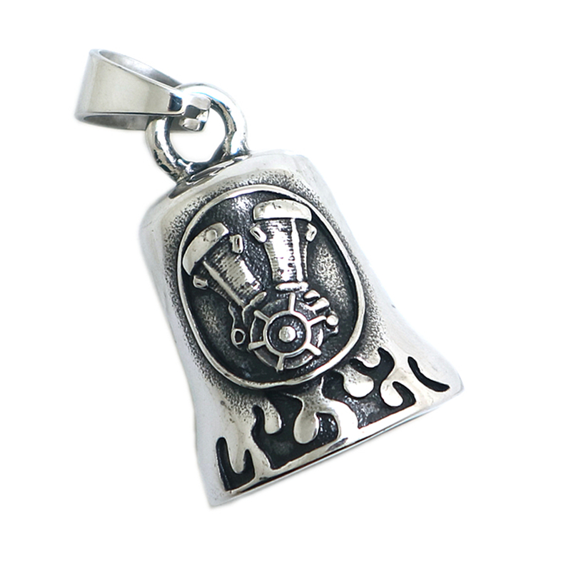 Mens Boys 316L Stainless Steel Cool Biker Flaming Engine Newest Pendant