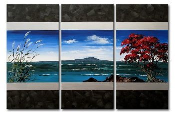 3 Panel hand painted Abstract Sea Modern Canvas Painting island Landscape Wall Art Cuadros Pictures Living Room Wall Decorations