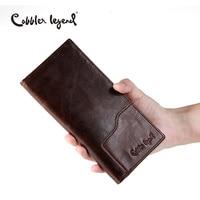 Cobbler Legend Business Men S Wallet Solid Real Leather Long Wallet Portable Cash Purses Casual Standard