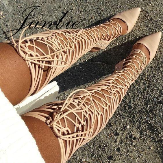 Beige Genou Pointu As Bout Sandale Gladiateur Dessus Automne Chaussures Femmes Pic Cuisse Bottes Rome Lacent Haute Du Junbie dfAnFBwYB