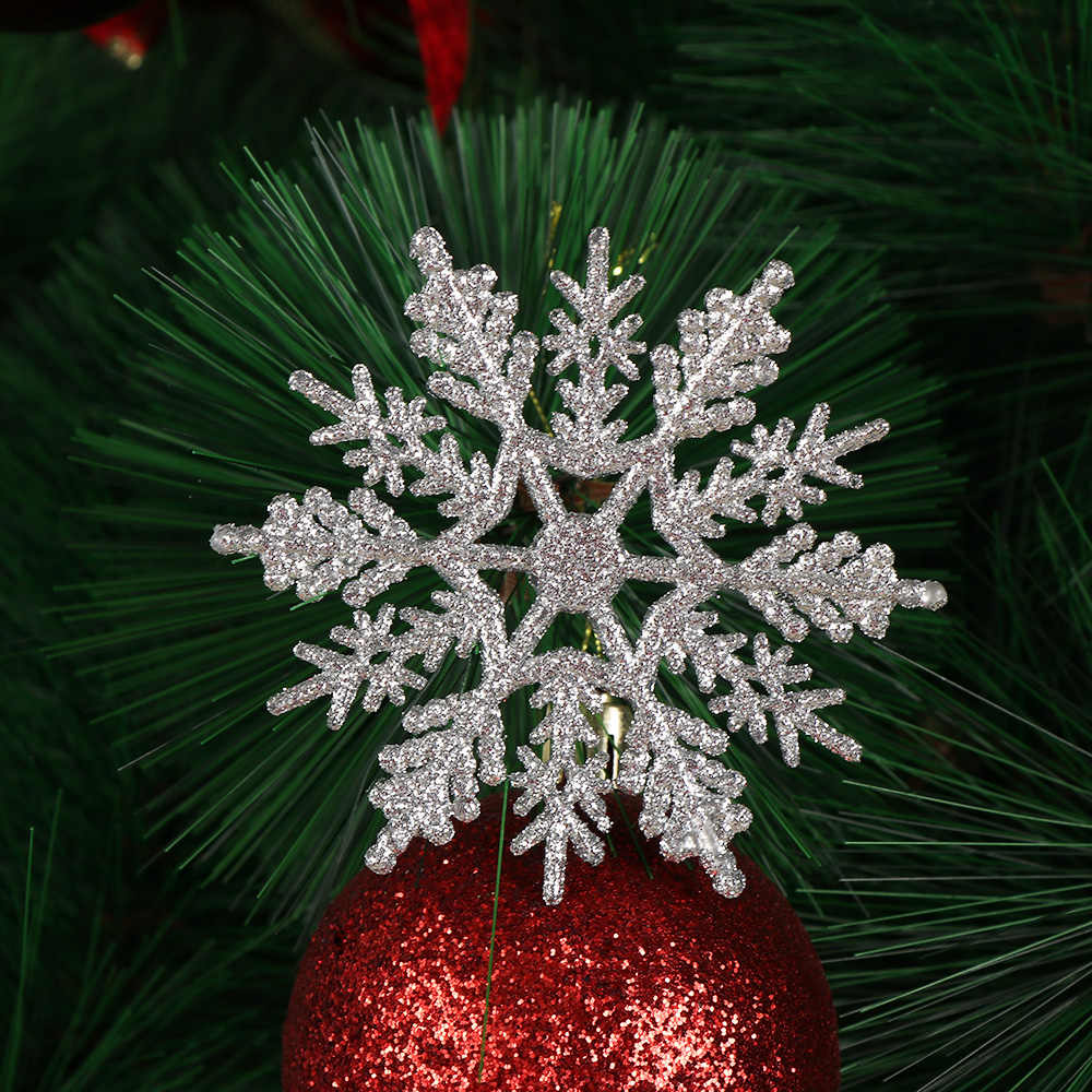 12Pcs Charmante 7.5/10cm Goud Poeder Sneeuwvlok voor Xmas Witte Kerstboom Decor Party Holiday Kerst Ornamenten home Decor