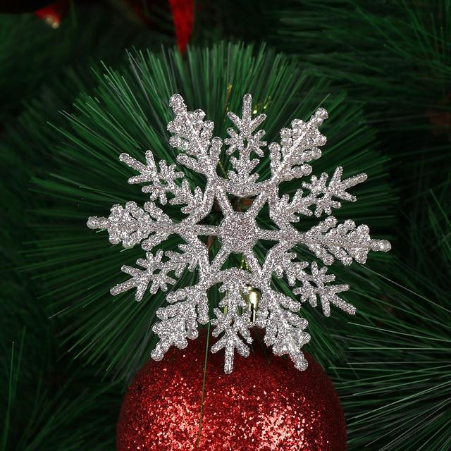 Albero Di Natale Bianco.Us 2 05 12 Pz New Charming 7 5 Cm Polvere D Oro Fiocco Di Neve Per Natale Bianco Albero Di Natale Della Decorazione Del Partito Di Vacanza Di Natale