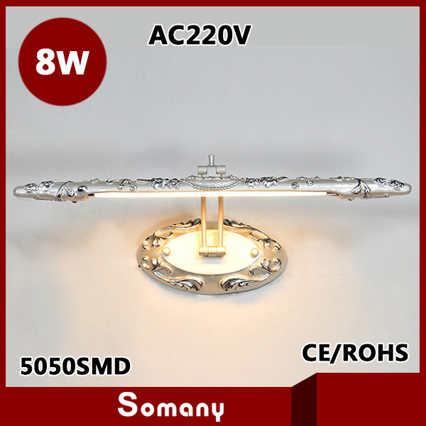 ФОТО New 2015 Carving Mirror Lights T4 Fluorescent Tubes AC220V Warm White Romantic Classical Luxury Luminarias Fashion Bedside Lamp
