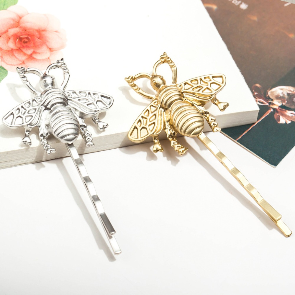 Vivid Bee Golden Silver Metallic Hair Clips and Pins Fashion Insect Barrettes   Headwear   Women Hair Accessories