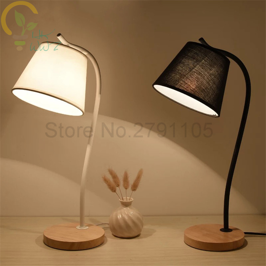 Modern cloth lampshade table lamp black white simple desk - Black table lamps for living room ...