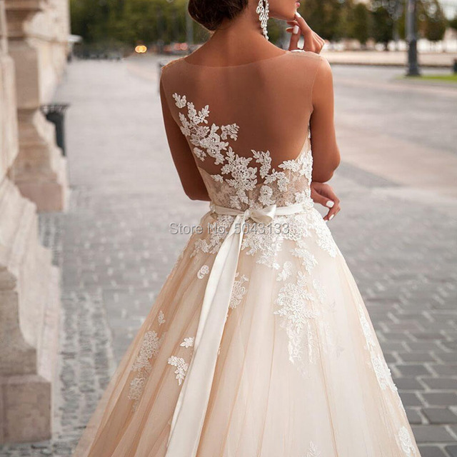 Transparent Scoop Champagne Wedding Dresses with Detachable Beading Sash Lace Applique Sleeveless Backless Bridal Gowns 2021 4
