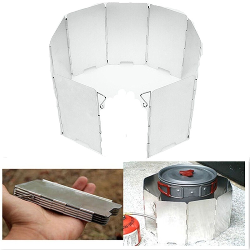 Portable Aluminum Foldable Camping BBQ Cookout Stove Wind Shield Screen 8-10 Plates for Outdoor Picnic Windbreak