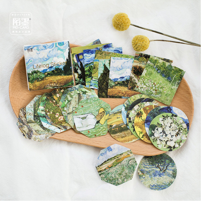45PCS/sets Van Gogh Stickers Artist Classic Painting Traveler Notebook Diary DIY Decoration Stickers Stationery Sticker TZ47