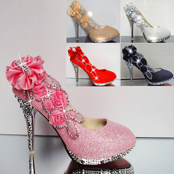 cd467e6eda1 Free shipping 2014 HOT Womens Ladies Girls Party Platform Thin High Heel  Glitter Pumps Wedding Bridal Shoes NX01-NX25