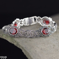 KJJEAXCMY Fine jewelry S925 pure silver ornament Thailand craft lady pomegranate red hand chain