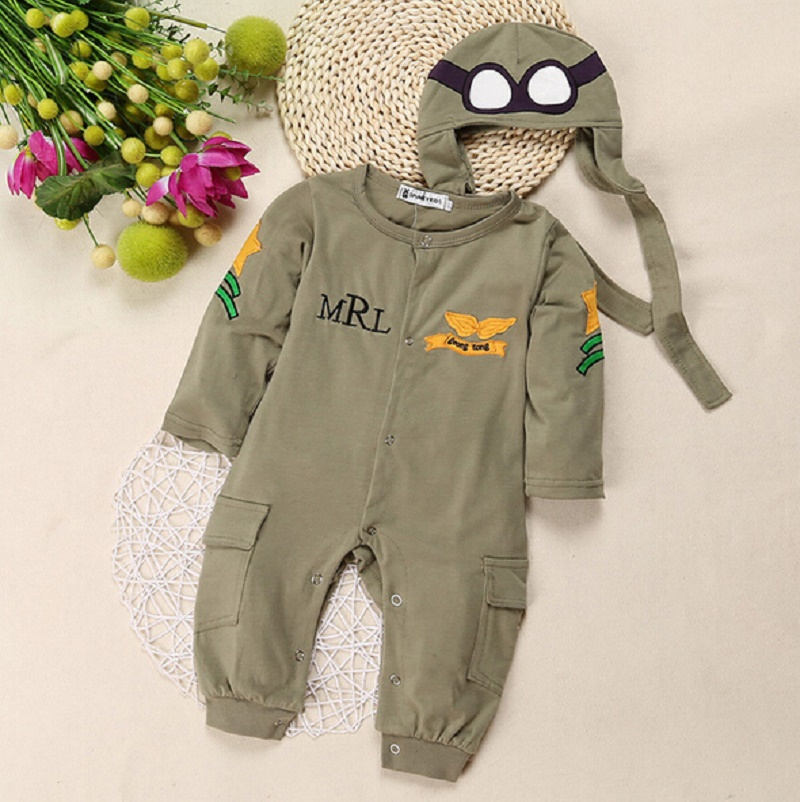 Baby Boy Clothing Pilot Long Sleeve Romper Hat 2PCS Set Military Green Baby Boy Clothes Bebe De