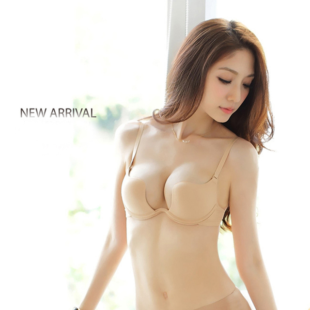f60c42a4b5 Hot Deep U Low Cut Push Up Women Lingerie U Bra Backless Invisible  Convertible Bra For