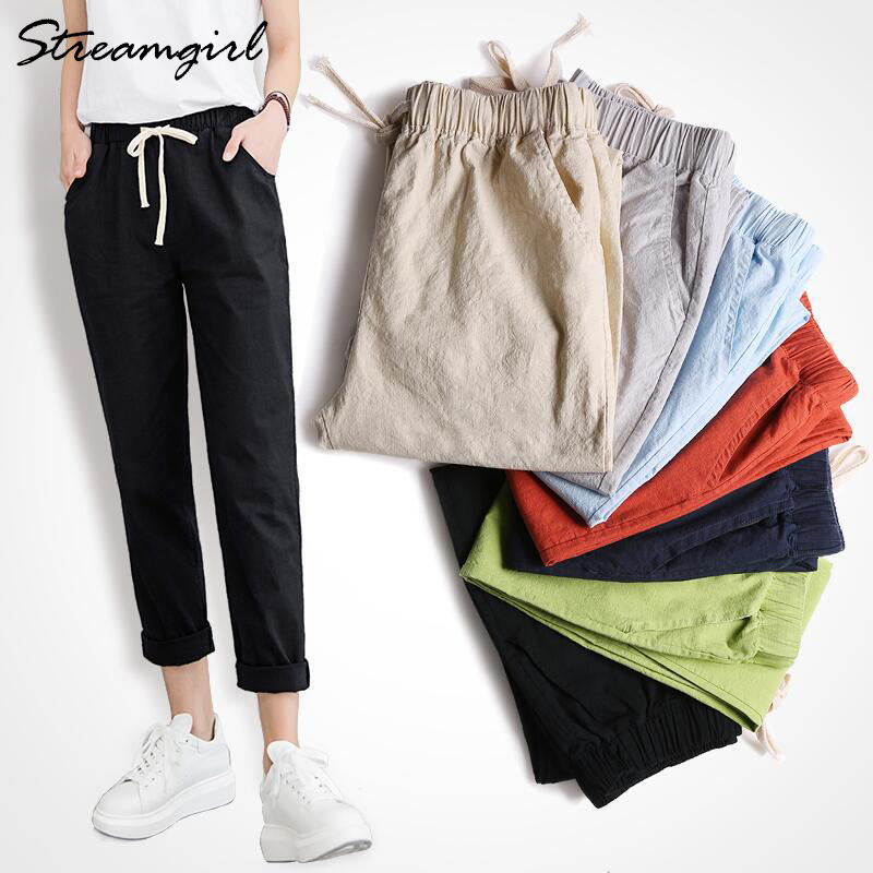 get cheap save off wide range Summer Cotton Linen Pants Women Wide Leg Women's Harem Pants Female Fashion  Capris Ladies Black Linen Trousers Women Summer 2019