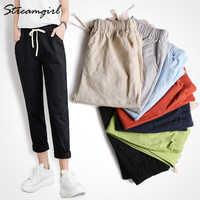 Summer Cotton Linen Pants Women Wide Leg Women's Harem Pants Female Fashion Capris Ladies Black Linen Trousers Women Summer 2020